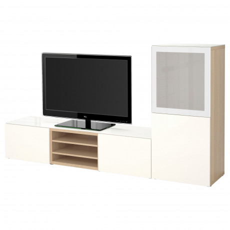 Шкаф для ТВ, комбин/стеклян дверцы БЕСТО белый Лаппвикен, Синдвик белый прозрачное стекло фото 15