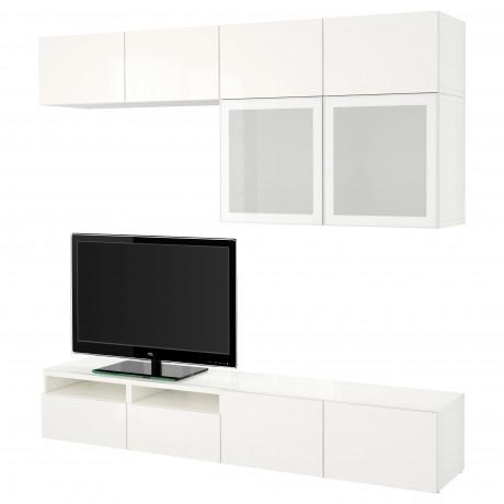 Шкаф для ТВ, комбин/стеклян дверцы БЕСТО Лаппвикен, Синдвик черно-коричневый прозрачное стекло фото 18