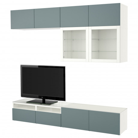 Шкаф для ТВ, комбин/стеклян дверцы БЕСТО Лаппвикен, Синдвик черно-коричневый прозрачное стекло фото 8