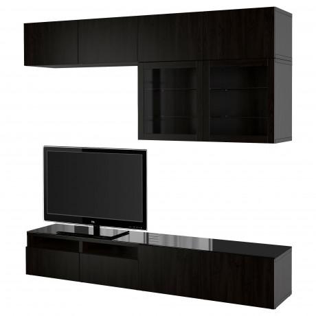 Шкаф для ТВ, комбин/стеклян дверцы БЕСТО Лаппвикен, Синдвик черно-коричневый прозрачное стекло фото 6