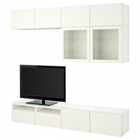 Шкаф для ТВ, комбин/стеклян дверцы БЕСТО Лаппвикен, Синдвик черно-коричневый прозрачное стекло фото 32