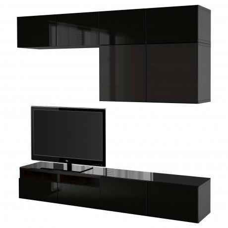 Шкаф для ТВ, комбин/стеклян дверцы БЕСТО Лаппвикен, Синдвик черно-коричневый прозрачное стекло фото 30