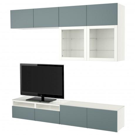 Шкаф для ТВ, комбин/стеклян дверцы БЕСТО Лаппвикен, Синдвик черно-коричневый прозрачное стекло фото 12