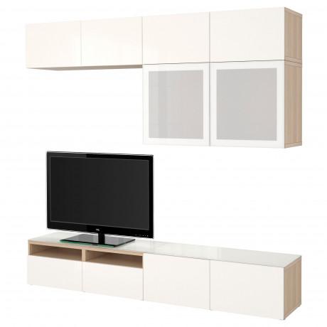 Шкаф для ТВ, комбин/стеклян дверцы БЕСТО Лаппвикен, Синдвик черно-коричневый прозрачное стекло фото 24