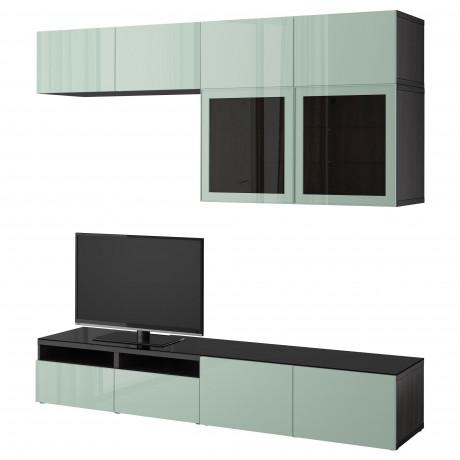 Шкаф для ТВ, комбин/стеклян дверцы БЕСТО Лаппвикен, Синдвик черно-коричневый прозрачное стекло фото 21