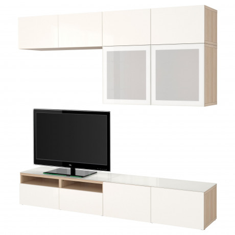 Шкаф для ТВ, комбин/стеклян дверцы БЕСТО Лаппвикен, Синдвик черно-коричневый прозрачное стекло фото 16