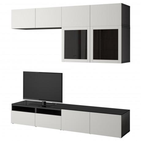 Шкаф для ТВ, комбин/стеклян дверцы БЕСТО Лаппвикен, Синдвик черно-коричневый прозрачное стекло фото 7