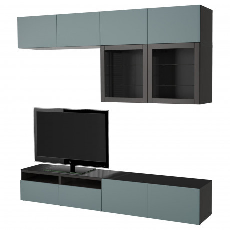 Шкаф для ТВ, комбин/стеклян дверцы БЕСТО Лаппвикен, Синдвик черно-коричневый прозрачное стекло фото 14