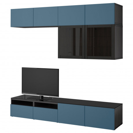 Шкаф для ТВ, комбин/стеклян дверцы БЕСТО Лаппвикен, Синдвик черно-коричневый прозрачное стекло фото 15