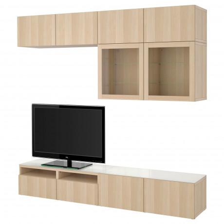 Шкаф для ТВ, комбин/стеклян дверцы БЕСТО Лаппвикен, Синдвик черно-коричневый прозрачное стекло фото 2