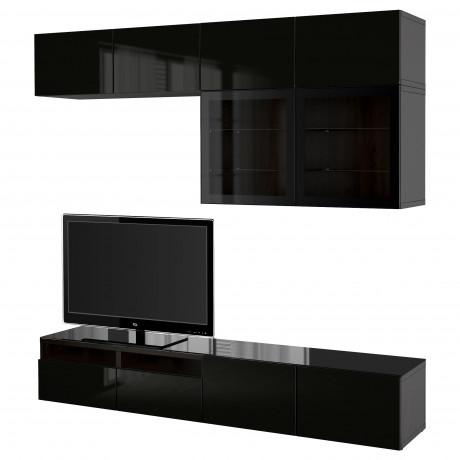 Шкаф для ТВ, комбин/стеклян дверцы БЕСТО Лаппвикен, Синдвик черно-коричневый прозрачное стекло фото 23