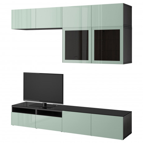 Шкаф для ТВ, комбин/стеклян дверцы БЕСТО Лаппвикен, Синдвик черно-коричневый прозрачное стекло фото 29