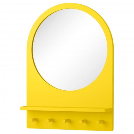 Зеркало с полкой и крючками САЛТРЁД белый фото 1