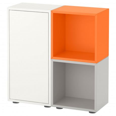 Комбинация шкафов с ножками ЭКЕТ белый/оранжевый, светло-серый  фото 1