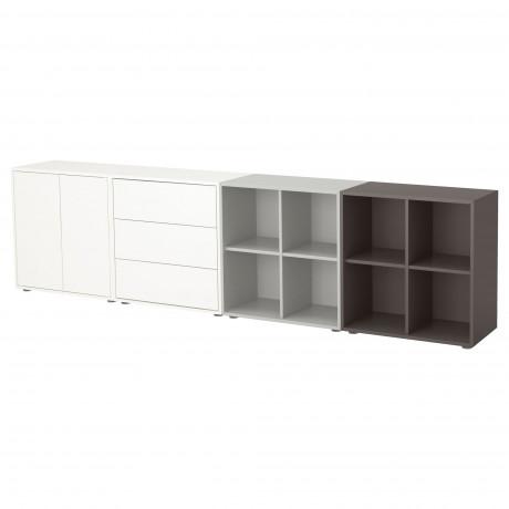 Комбинация шкафов с ножками ЭКЕТ белый/светло-серый, темно-серый  фото 1