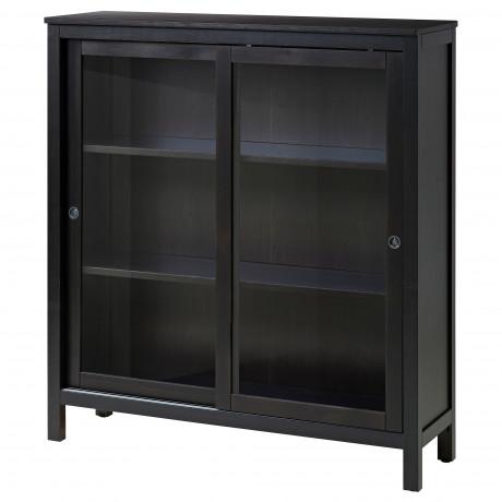 Шкаф-витрина ХЕМНЭС черно-коричневый  фото 1