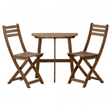 Стол+2 складных стула, д/сада АСКХОЛЬМЕН серый/коричневый, Иттерон синий фото 1