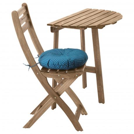 Стол+1 складной стул, д/сада АСКХОЛЬМЕН серо-коричневый, Иттерон синий  фото 1