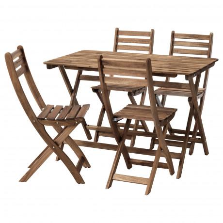 Стол+4 складных стула, д/сада АСКХОЛЬМЕН серо-коричневая морилка, ФРЁСЁН/ДУВХОЛЬМЕН темно-серый фото 4