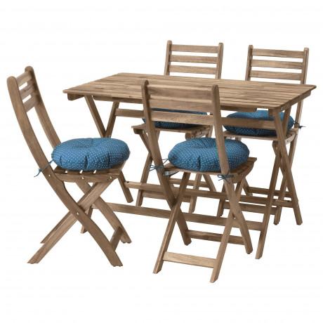 Стол+4 складных стула, д/сада АСКХОЛЬМЕН серо-коричневая морилка, ФРЁСЁН/ДУВХОЛЬМЕН темно-серый фото 1