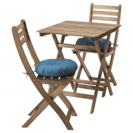 Садовый стол+2 складных стула АСКХОЛЬМЕН серо-коричневая морилка, ФРЁСЁН/ДУВХОЛЬМЕН бежевый фото 2