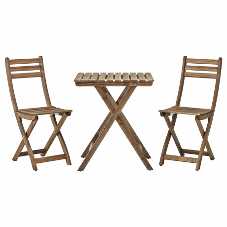Садовый стол+2 складных стула АСКХОЛЬМЕН серо-коричневая морилка, ФРЁСЁН/ДУВХОЛЬМЕН бежевый  фото 1