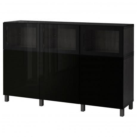 Комбинация для хранения с дверцами БЕСТО черно-коричневый Лаппвикен, Синдвик черно-коричневый прозрачное стекло фото 9