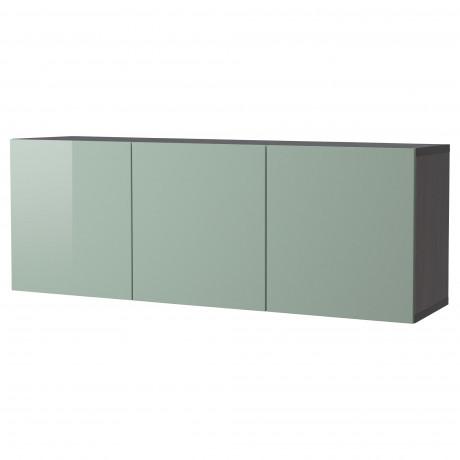Комбинация настенных шкафов БЕСТО черно-коричневый, Сельсвикен глянцевый/бежевый фото 2