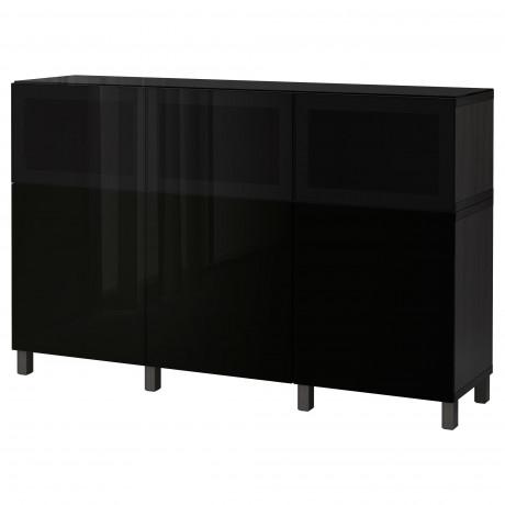 Комбинация для хранения с дверцами БЕСТО черно-коричневый Лаппвикен, Синдвик черно-коричневый прозрачное стекло фото 8