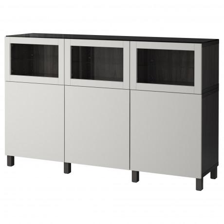 Комбинация для хранения с дверцами БЕСТО черно-коричневый Лаппвикен, Синдвик черно-коричневый прозрачное стекло фото 3