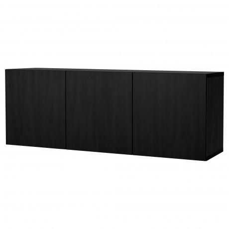Комбинация настенных шкафов БЕСТО черно-коричневый, Сельсвикен глянцевый/бежевый фото 1