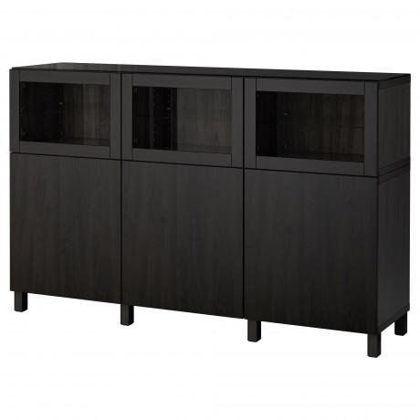 Комбинация для хранения с дверцами БЕСТО черно-коричневый Лаппвикен, Синдвик черно-коричневый прозрачное стекло  фото 1