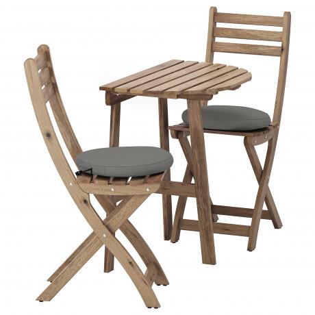 Стол+2 складных стула, д/сада АСКХОЛЬМЕН серый/коричневый, Иттерон синий фото 3