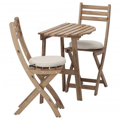 Стол+2 складных стула, д/сада АСКХОЛЬМЕН серый/коричневый, Иттерон синий фото 4