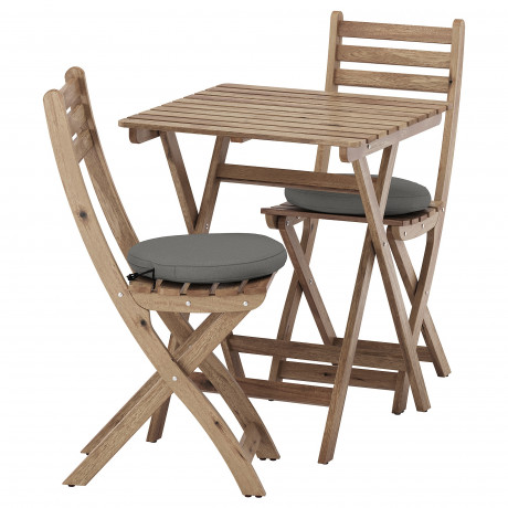 Садовый стол+2 складных стула АСКХОЛЬМЕН серо-коричневая морилка, ФРЁСЁН/ДУВХОЛЬМЕН бежевый фото 3