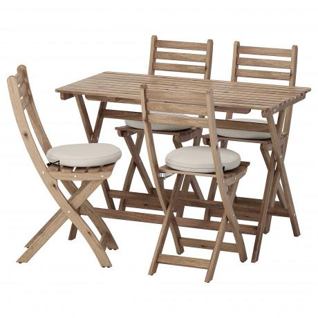 Стол+4 складных стула, д/сада АСКХОЛЬМЕН серо-коричневая морилка, ФРЁСЁН/ДУВХОЛЬМЕН темно-серый фото 2