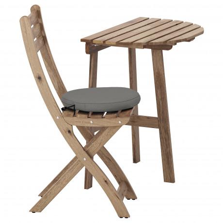 Стол+1 складной стул, д/сада АСКХОЛЬМЕН серо-коричневый, Иттерон синий фото 4
