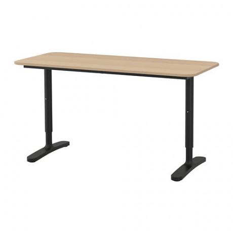 Письменный стол БЕКАНТ белый, черный фото 6