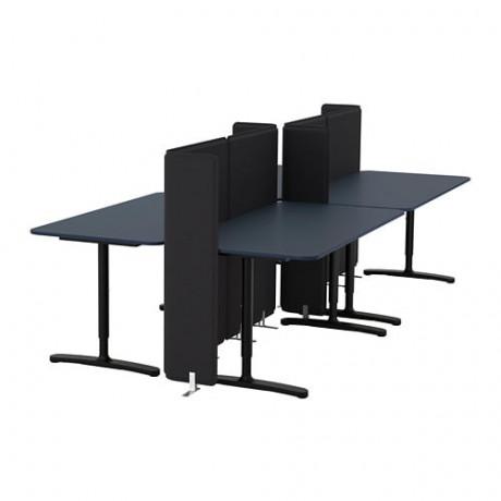 Стол с экраном БЕКАНТ линолеум синий, белый фото 5