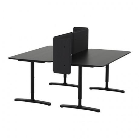 Стол с экраном БЕКАНТ линолеум синий, черный фото 6