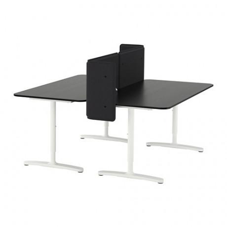 Стол с экраном БЕКАНТ линолеум синий, черный фото 2