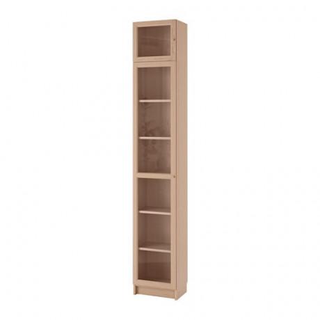 Шкаф книжный со стеклянной дверью БИЛЛИ / ОКСБЕРГ коричневый ясеневый шпон, стекло фото 2