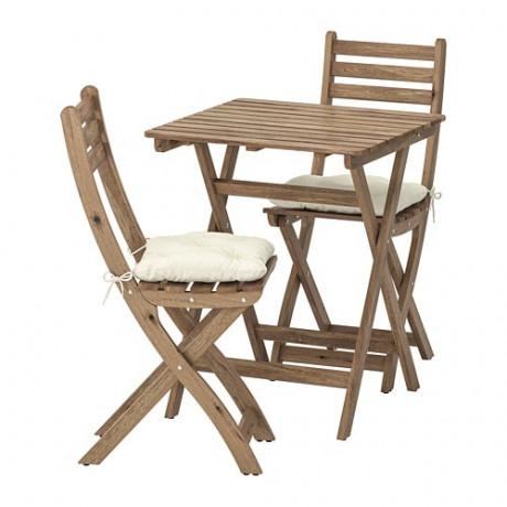 Садовый стол+2 складных стула АСКХОЛЬМЕН серо-коричневая морилка, ФРЁСЁН/ДУВХОЛЬМЕН бежевый фото 5