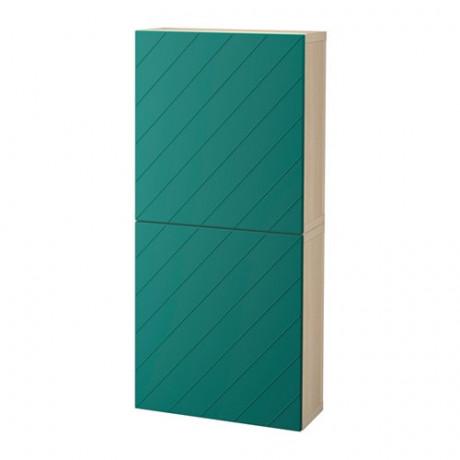 Навесной шкаф с 2 дверями БЕСТО под беленый дуб, вассвикен белый фото 6