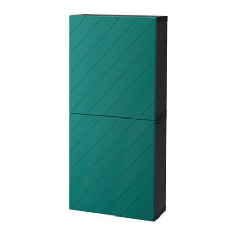 Навесной шкаф с 2 дверями БЕСТО под беленый дуб, вассвикен белый  фото 1