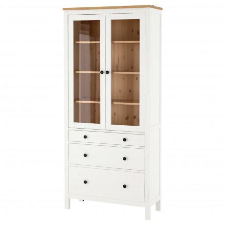 Шкаф-витрина с 3 ящиками ХЕМНЭС белая морилка, светло-коричневый  фото 1