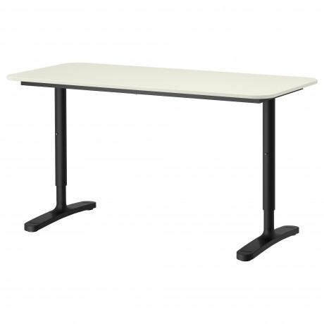 Письменный стол БЕКАНТ белый, черный фото 2