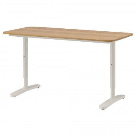 Письменный стол БЕКАНТ белый, черный фото 8