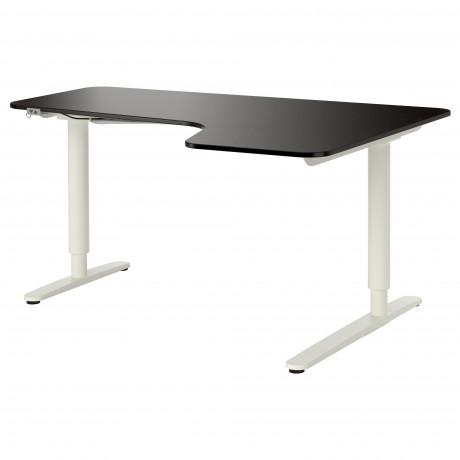 Углов письм стол прав/трансф БЕКАНТ белый, черный фото 4
