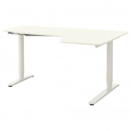 Углов письм стол прав/трансф БЕКАНТ белый, черный  фото 1